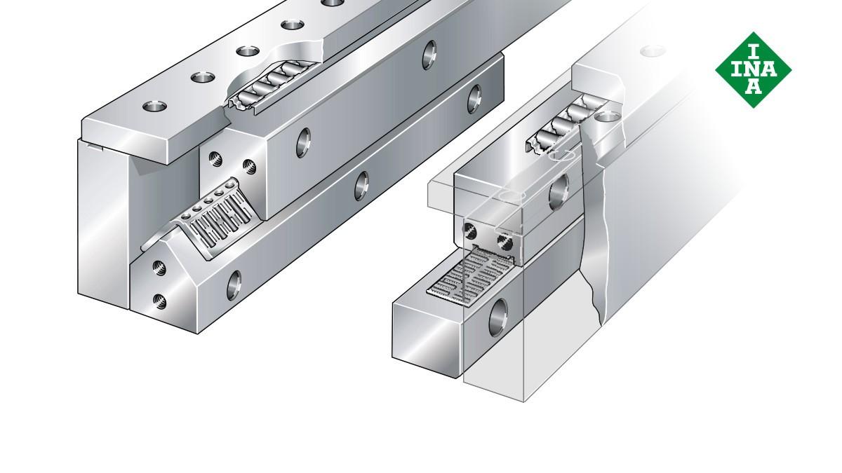 Schaeffler-lineairgeleidingen: Omvattingssysteem met vlakke kooien voor naald- en cilinderrollen